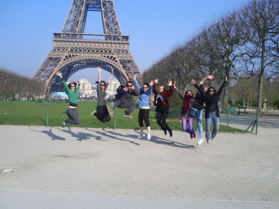 Jumping in front of Eiffel Tower